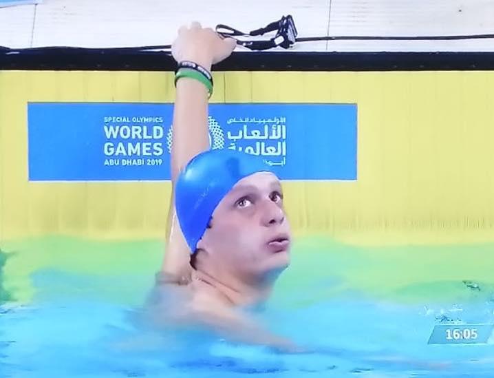 Daniel Guerra momentos después de culminar la prueba de 800 metros libres. (Foto Prensa Libre: Olimpiadas Especiales Guatemala)