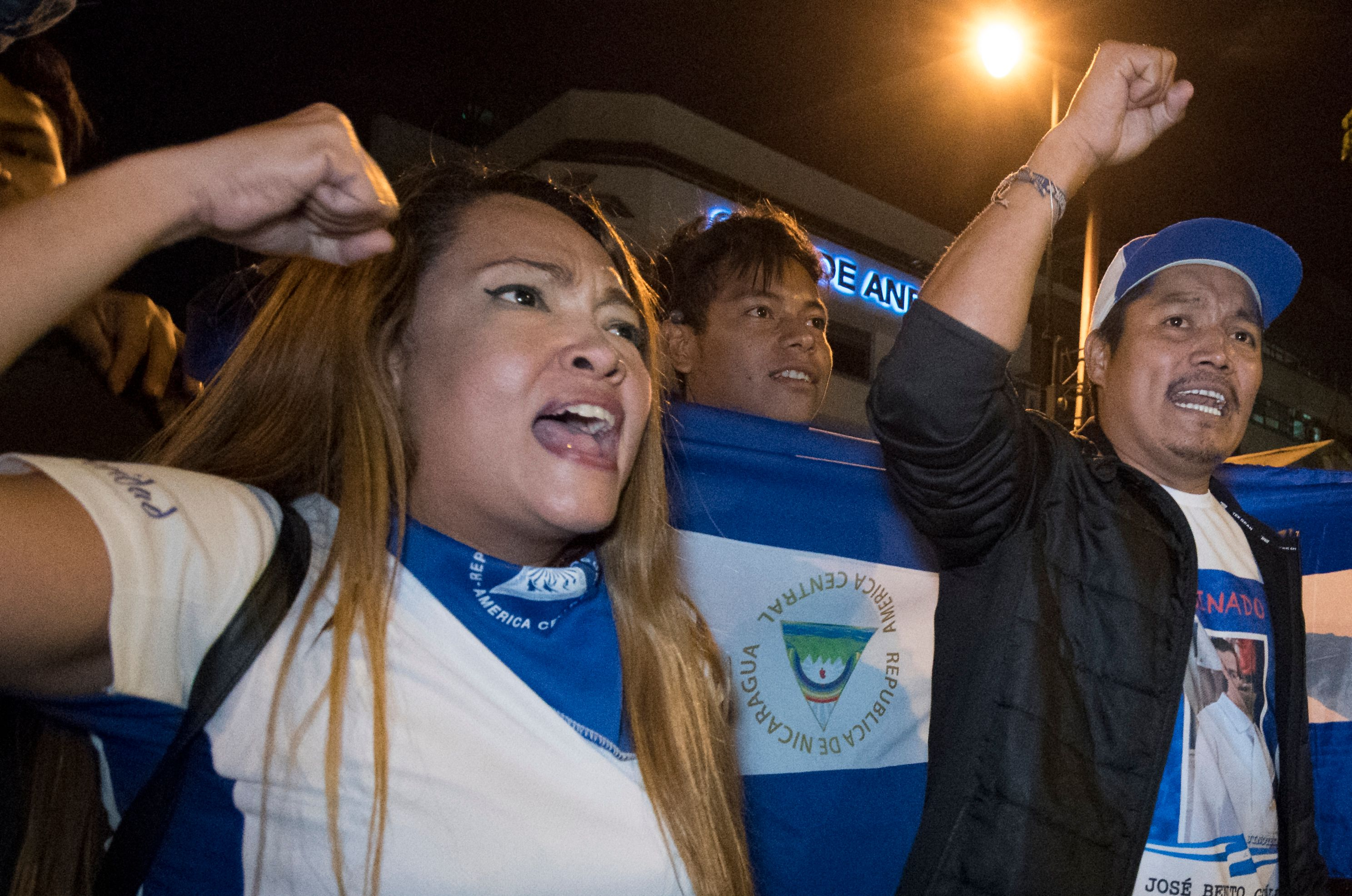 NIcaraguan migrants living in Costa Rica take part in a march to mark International Women's Day in San Jose, Costa Rica on March 8, 2019. (Photo by Ezequiel BECERRA / AFP)