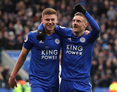 Jamie Vardy celebra después de marcar el segundo gol del Leicester. (Foto Prensa Libre: AFP)