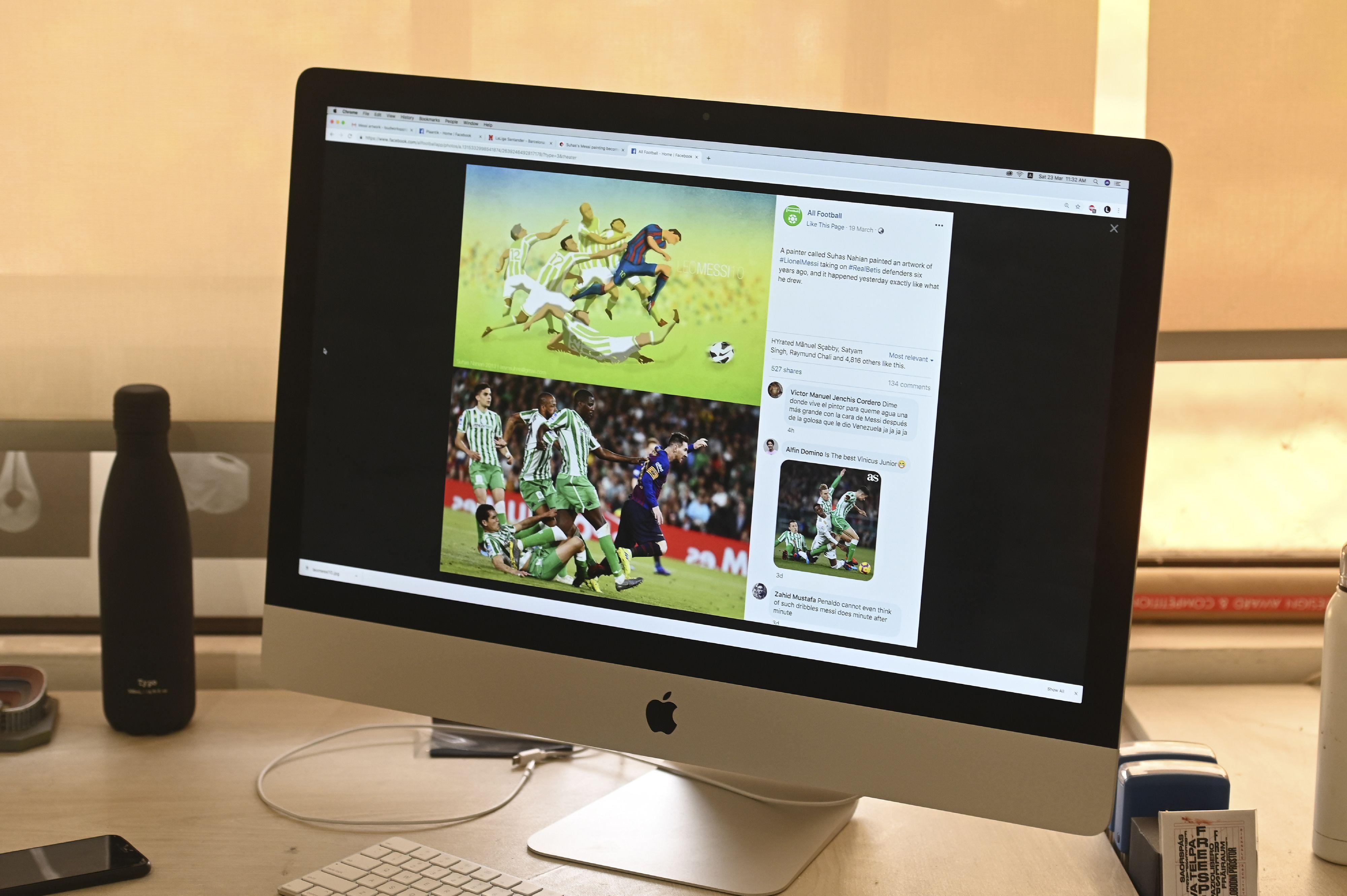 Suhas Nahian hizo un dibujo especial de Leo Messi. (Foto Prensa Libre: AFP)