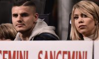 Inter Milan's Argentine forward Mauro Icardi (L) and his wife Argentine television personality, and football agent, Wanda Nara attend the Italian Serie A football match Inter Milan vs Lazio Rome on March 31, 2019 at the San Siro stadium in Milan. (Photo by Marco BERTORELLO / AFP)