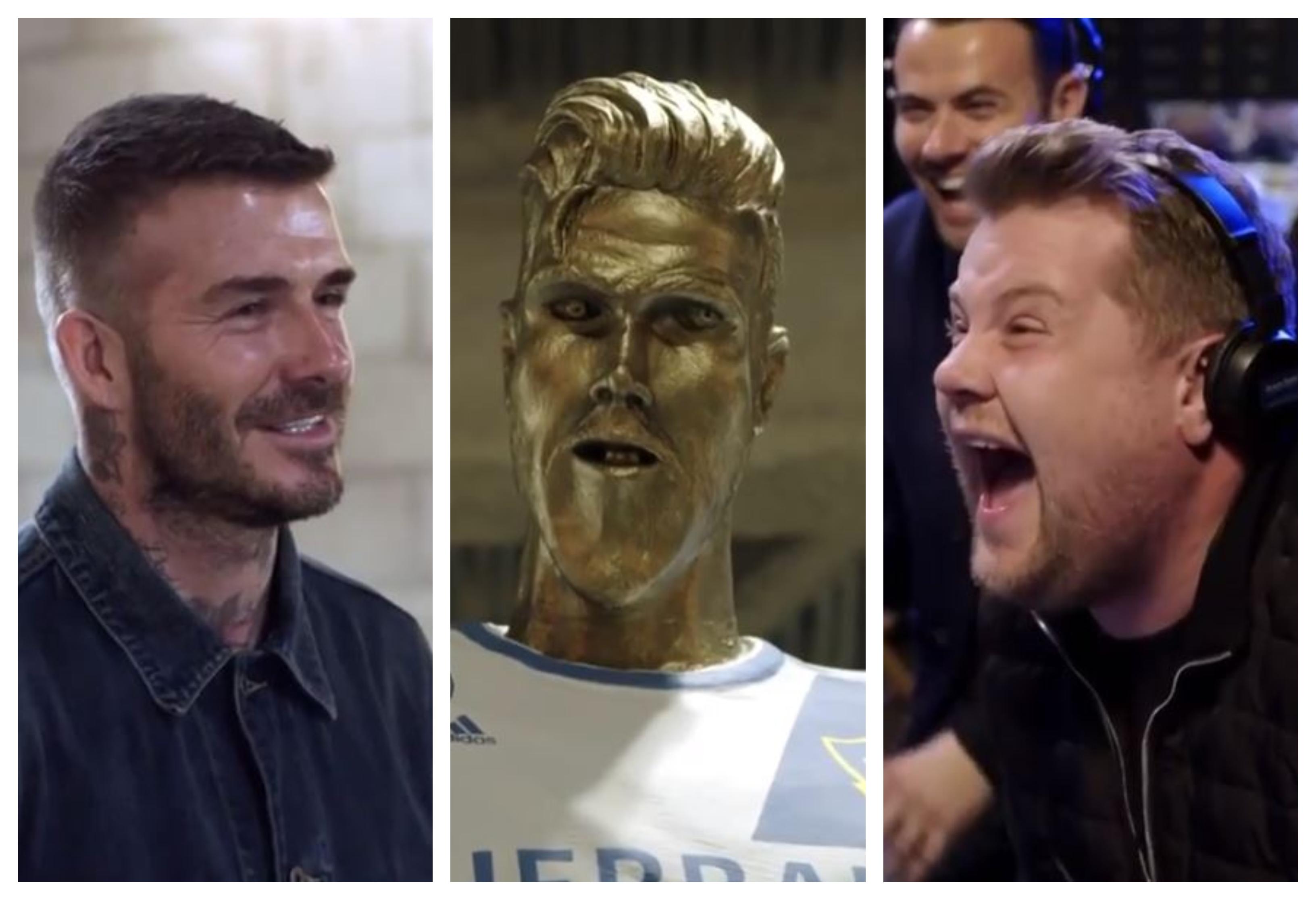 David Beckham es el protagonista de la última broma de James Corden. (Foto Prensa Libre: Twitter)