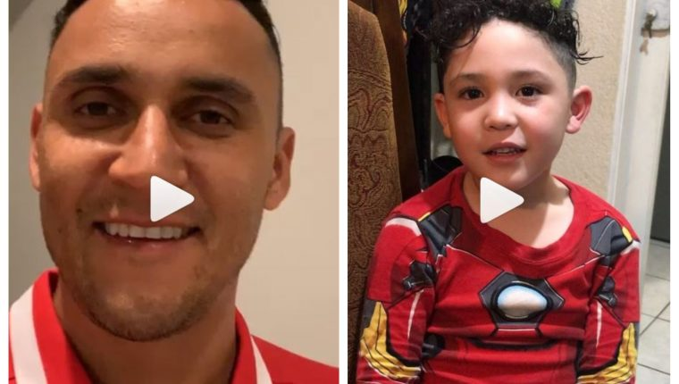 Keylor Navas le envió un saludo especial a Fabián, hijo de Jean Márquez. (Foto Prensa Libre: Instagram)