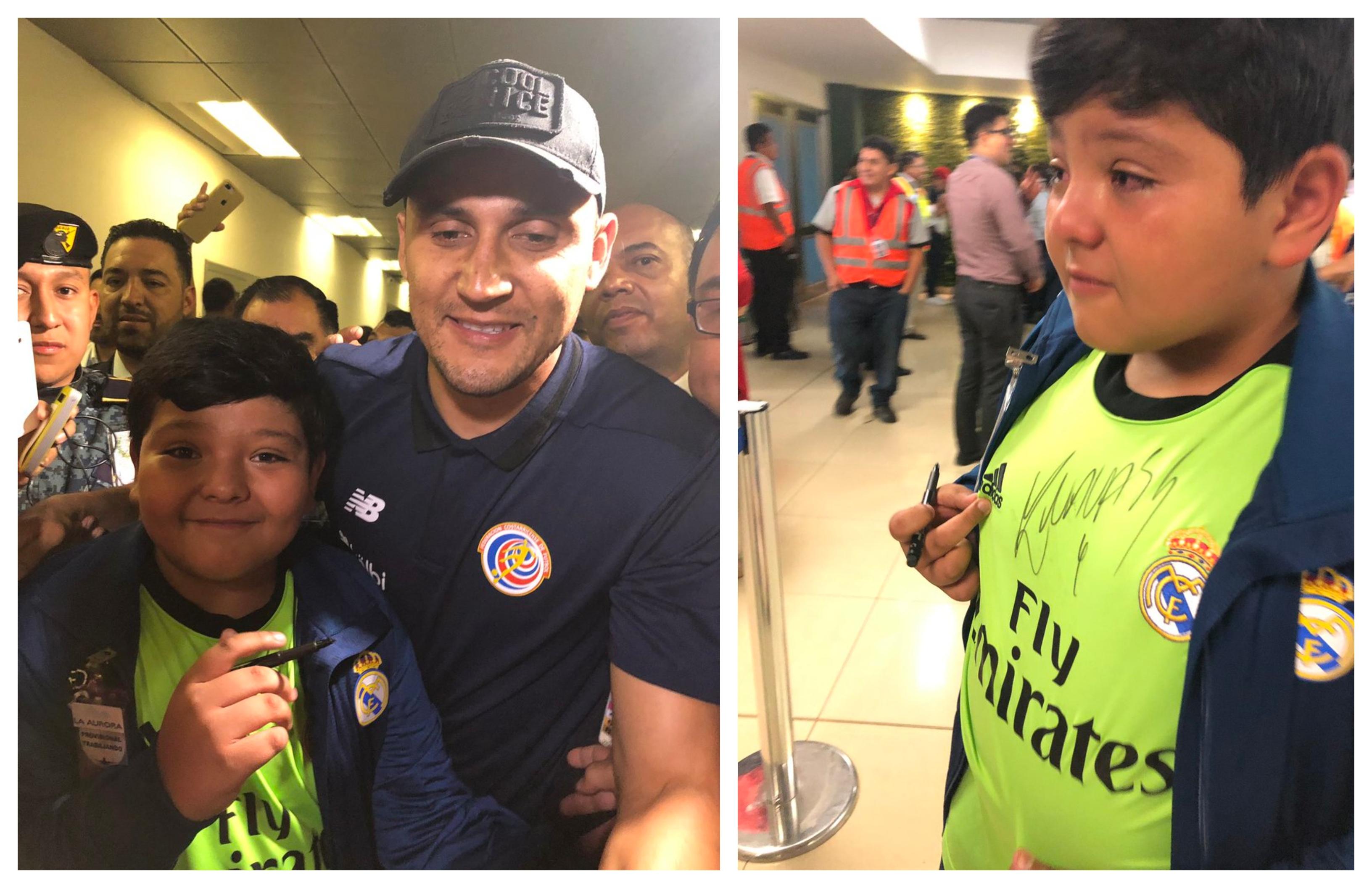Marcos Morales, junto al guardameta Keylor Navas. (Foto Prensa Libre: Cortesía Gabriela Morales)