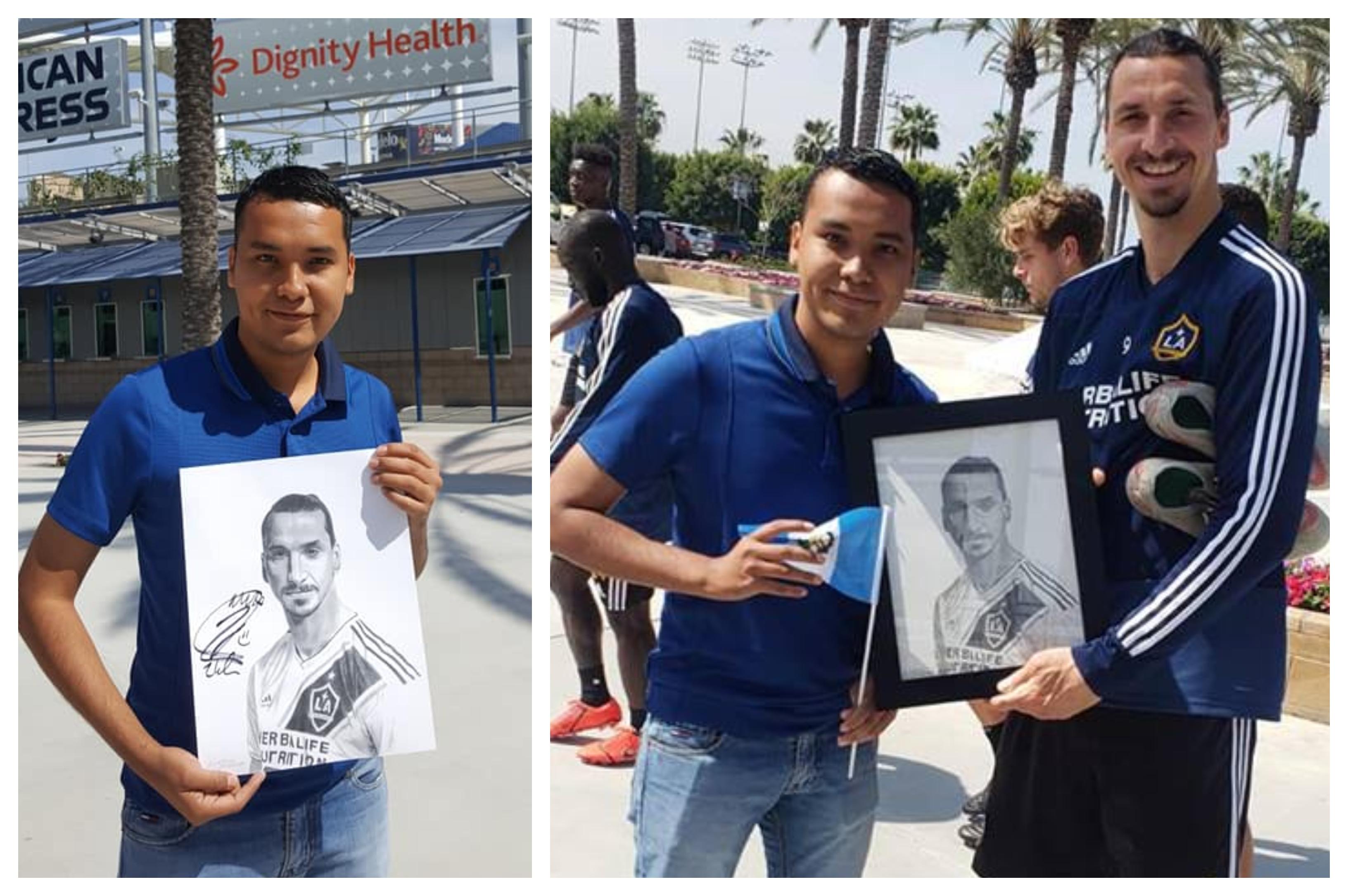 Édgar Leonel Lemus junto a Zlatan Ibrahimovic. (Foto Prensa Libre: Facebook Édgar Leonel Lemus)