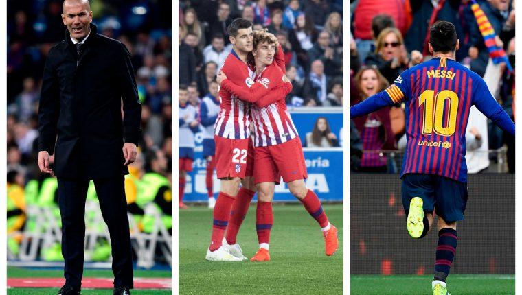 Ellos fueron protagonistas en la jornada del fin de semana del futbol español. (Foto Prensa Libre: EFE y AFP)