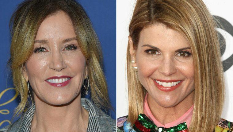 Las actrices Felicity Huffman y Lori Loughlin  habrían pagado para asegurar el ingreso de sus hijas a la universidad, (foto Prensa Libre: AFP)