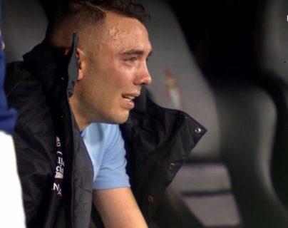 Aspas vivió un partido emotivo y no pudo contener las lágrimas. (Foto Prensa Libre: Twitter)