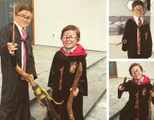 Thiago y Mateo Messi se disfrazaron con Harry Potter este viernes de Carnaval. (Foto Prensa Libre: @antoroccuzzo88)