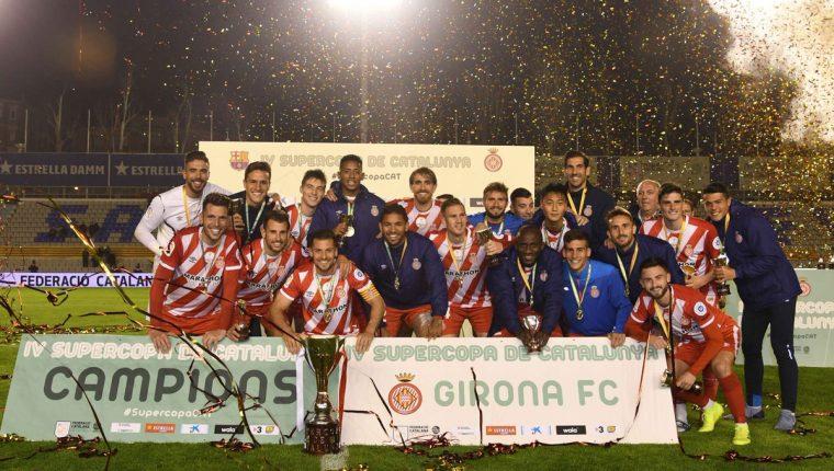 Los jugadores del Girona celebran después de vencer al FC Barcelona. (Foto Prensa Libre: @GironaFC)
