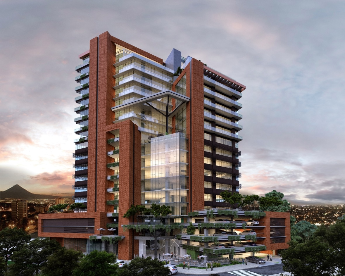 Así se diseño el edificio DiagoSeis, es uno de los dos proyectos para los cuales se anunciaron inversiones millonarias. (Foto, Prensa Libre: DiagoSeis).