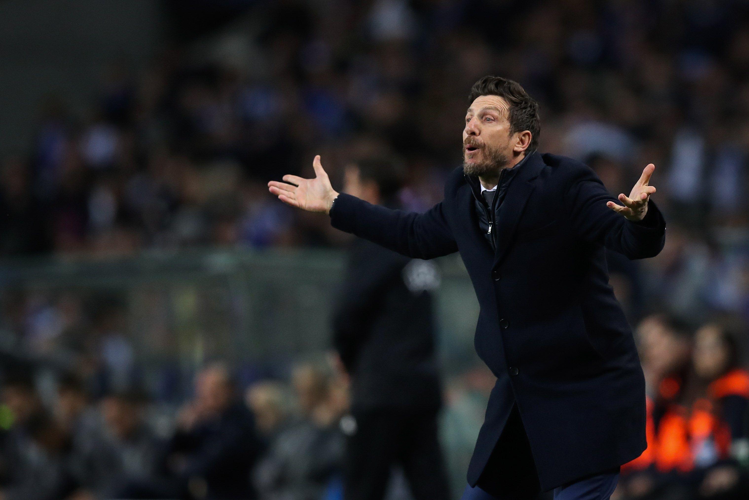 El técnico Eusebio Di Francesco fue destituido del AS Roma, tras ser eliminado por el Oporto. (Foto Prensa Libre: AFP).