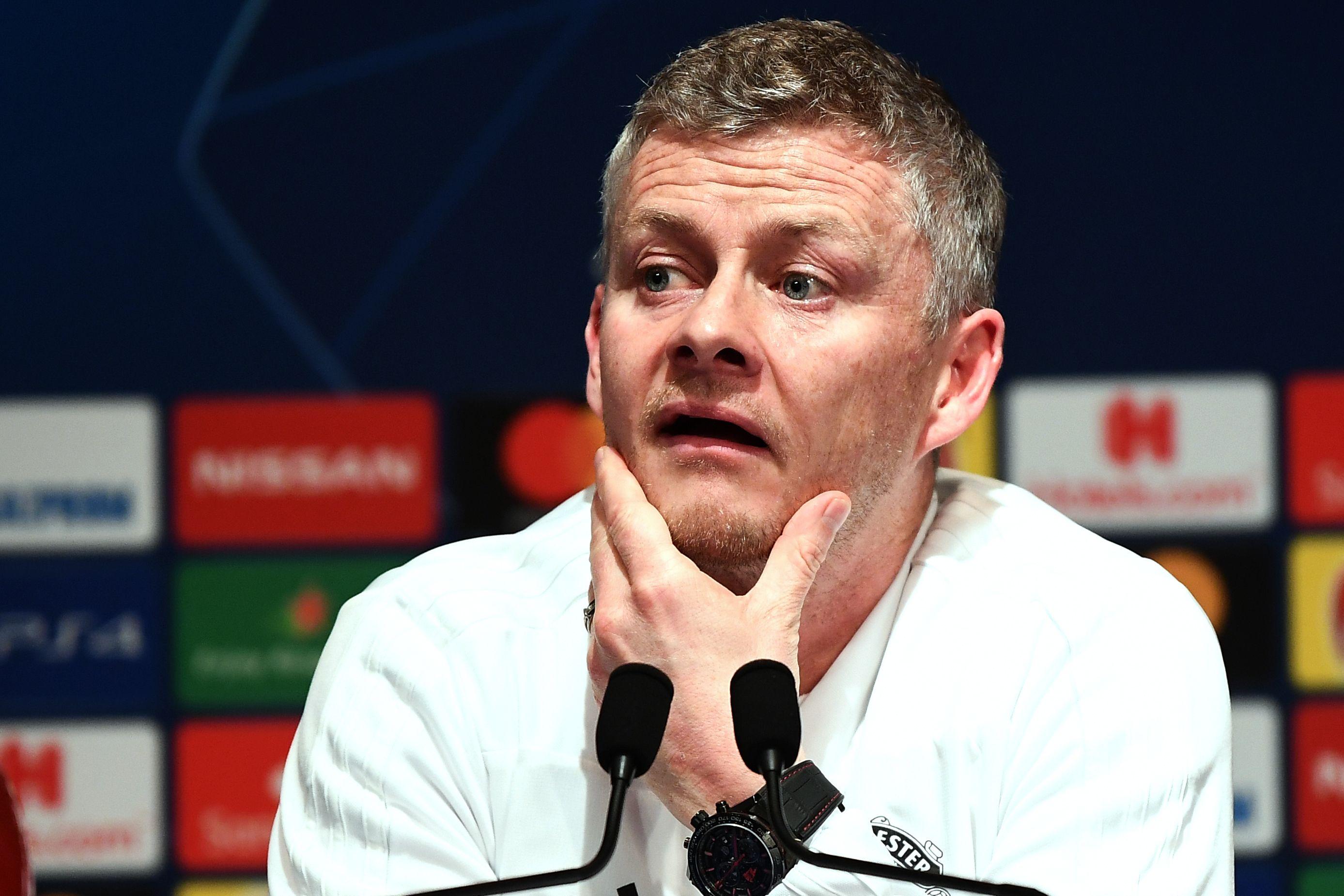 Ole Gunnar Solskjaer, técnico del Manchester United, en conferencia de prensa. (Foto Prensa Libre: AFP)