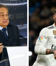 El presidente del Real Madrid, Florentino Pérez se reunió con Sergio Ramos después de la fuerte discusión que tuvieron la noche que el Ajax los eliminó de la Champions League. (Foto Prensa Libre AFP)