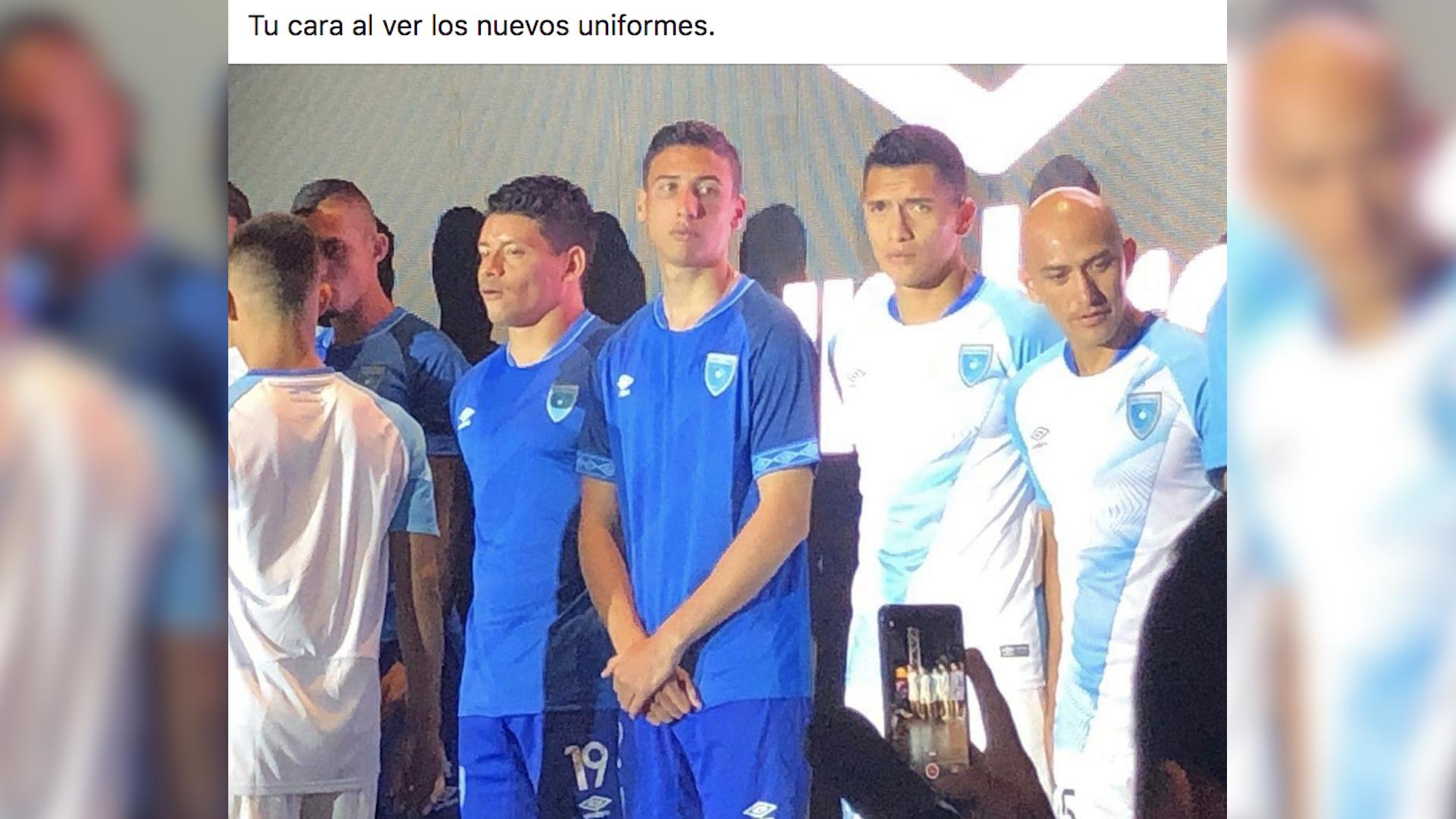 El nuestro diseño de la camisola de la Bicolor causo sorpresa y rechazo por parte de los aficionados al futbol guatemalteco. (Foto Prensa Libre: Redes)