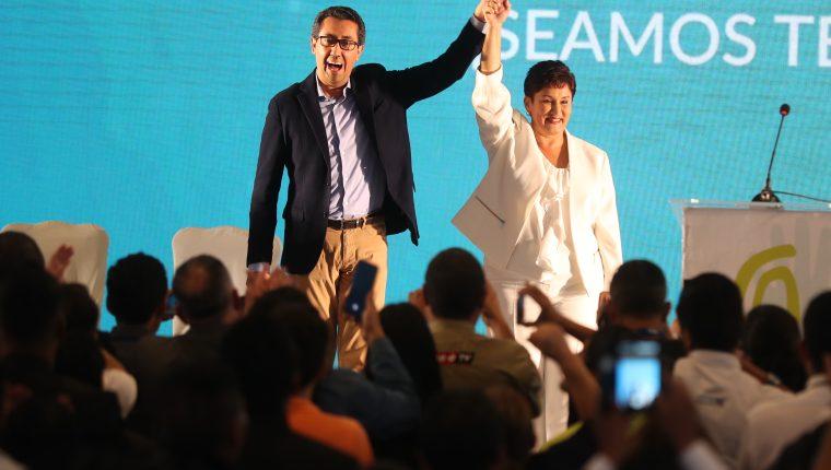 La exfiscal Thelma Aldana y el economista Jonathan Menkos fueron proclamados como binomio presidencial del Movimiento Semilla el 10 de marzo. (Foto Prensa Libre: Hemeroteca PL)