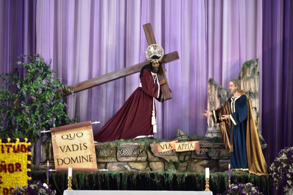 """Jesús de los Milagro fue el centro del mensaje """"Quo vadis Domine"""" es una fraselatinaque significa «¿Adónde vas, Señor?». Según explicó la Asociación de Jesús Nazareno de los Milagros. Foto Prensa Libre: Mario Noriega"""