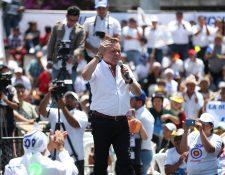 Mario Estrada candidato a la presidencia  durante el Lanzamiento de campaña del partido político UCN se llevó—a cabo en la Plaza Obelisco.  Foto por Carlos Hernández Ovalle 23/03/2019