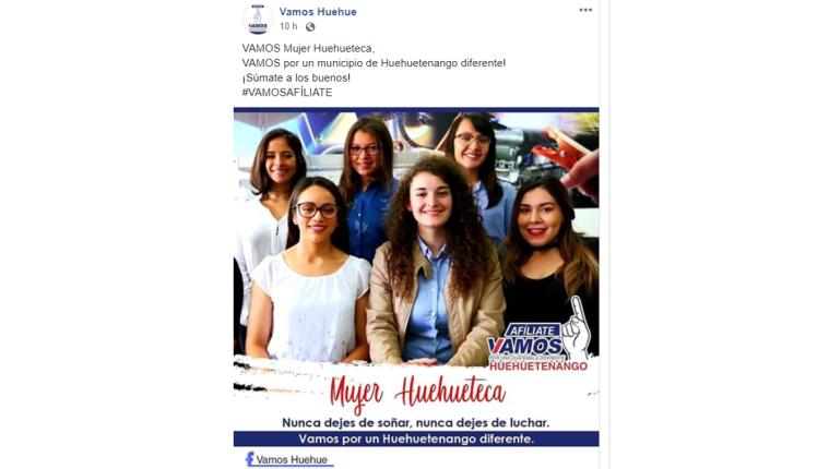Imagen de Facebook que invita a las mujeres de Huehuetenango afiliarse a Vamos. (Foto Prensa Libre: Tomada de Facebook).