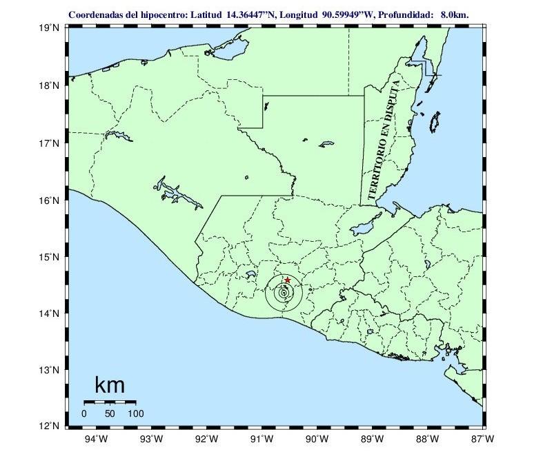 Reporte del Insivumeh sobre el sismo de las 15.06 horas.
