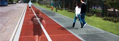 Presentación de como quedaría la pista de trote, en la colonia Jardines de Minerva, en el bulevar Vista Hermosa., zona 15. (Prensa Libre: Cortesía)