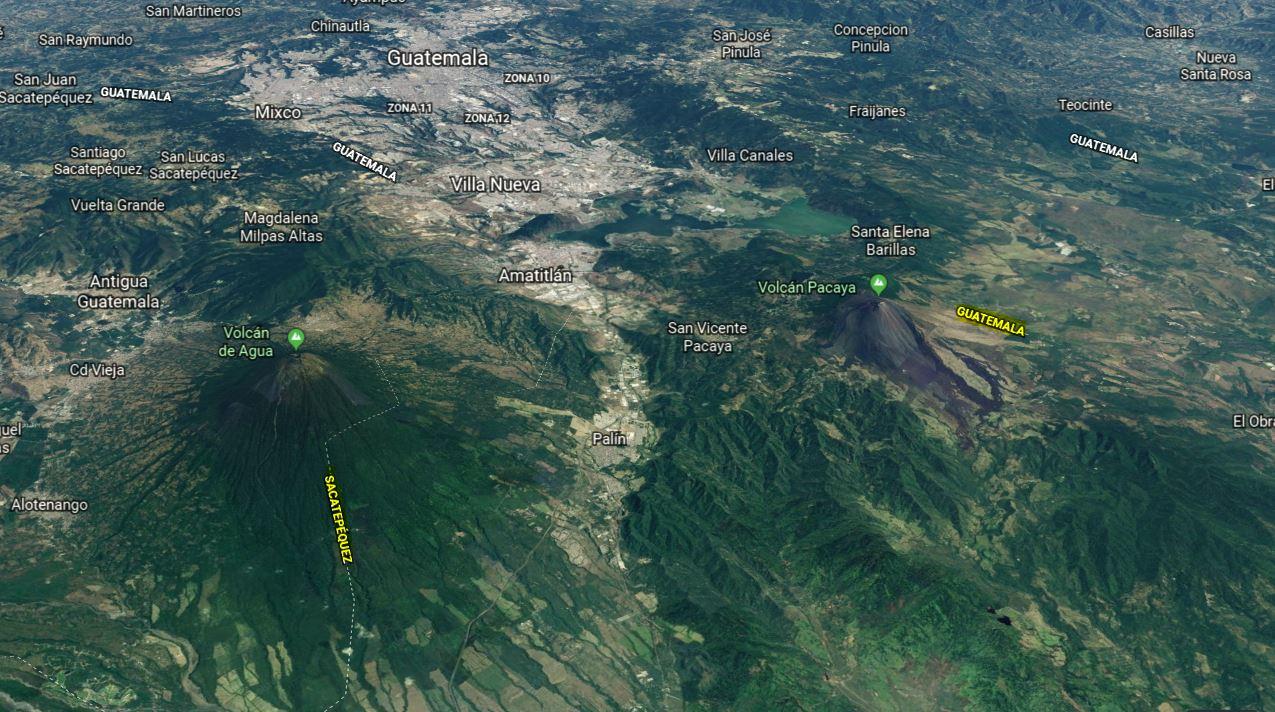 La ola de sismos, en su mayoría insensibles, ocurrió entre los departamentos de Guatemala y Sacatepéquez. (Foto: GoogleEarth)