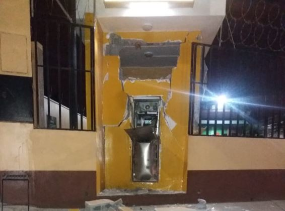 Cajero automático en San José Villa Nueva que fue violentado. (Foto: PNC)