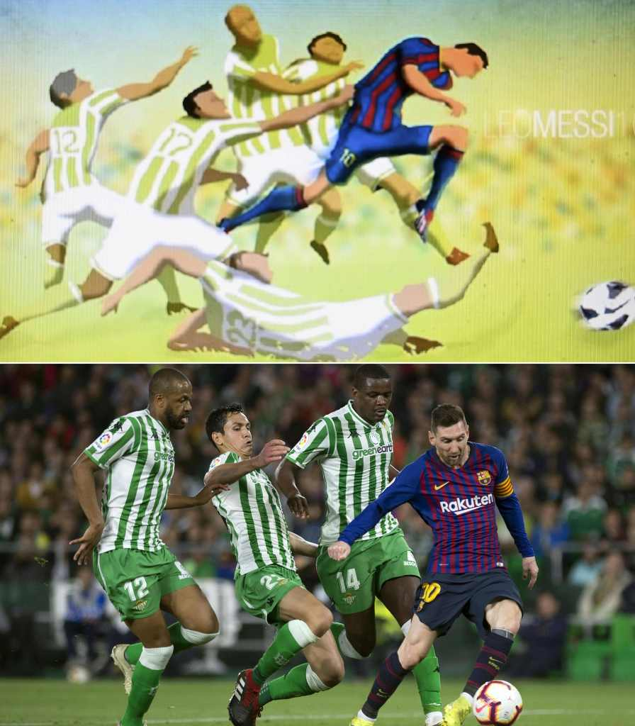 (COMBO) This combination of pictures created on March 23, 2019 shows (top) painting of Bangladeshi architect Suhas Nahian, 29, in Dhaka on March 23, 2019 (down) Barcelona's Argentinian forward Lionel Messi (R) shoots to score a goal during the Spanish league football match between Real Betis and FC Barcelona at the Benito Villamarin stadium in Seville on March 17, 2019. - A young Bangladeshi architect has earned fame after a digital picture of footballer Lionel Messi he drew has been matched eerily perfectly in real life six years later. (Photos by MUNIR UZ ZAMAN and JORGE GUERRERO / AFP) / RESTRICTED TO EDITORIAL USE - MANDATORY MENTION OF THE ARTIST UPON PUBLICATION - TO ILLUSTRATE THE EVENT AS SPECIFIED IN THE CAPTION