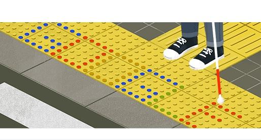 El doodle de este lunes está dedicado a Seiichi Miyake, inventor de los bloques táctiles, también llamados superficie podotáctil. (Foto Prensa Libre: Google)
