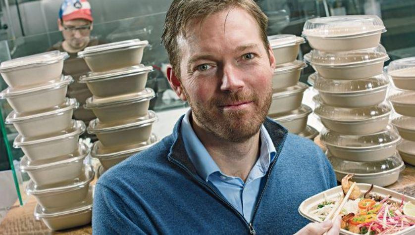 Desde el lanzamiento de Uber Eats, su líder, Jason Droege, ha recibido el 18% de sus comidas vía Eats, incluido este tazón de fideos. (Foto Prensa Libre: Tim Pannel para Forbes).