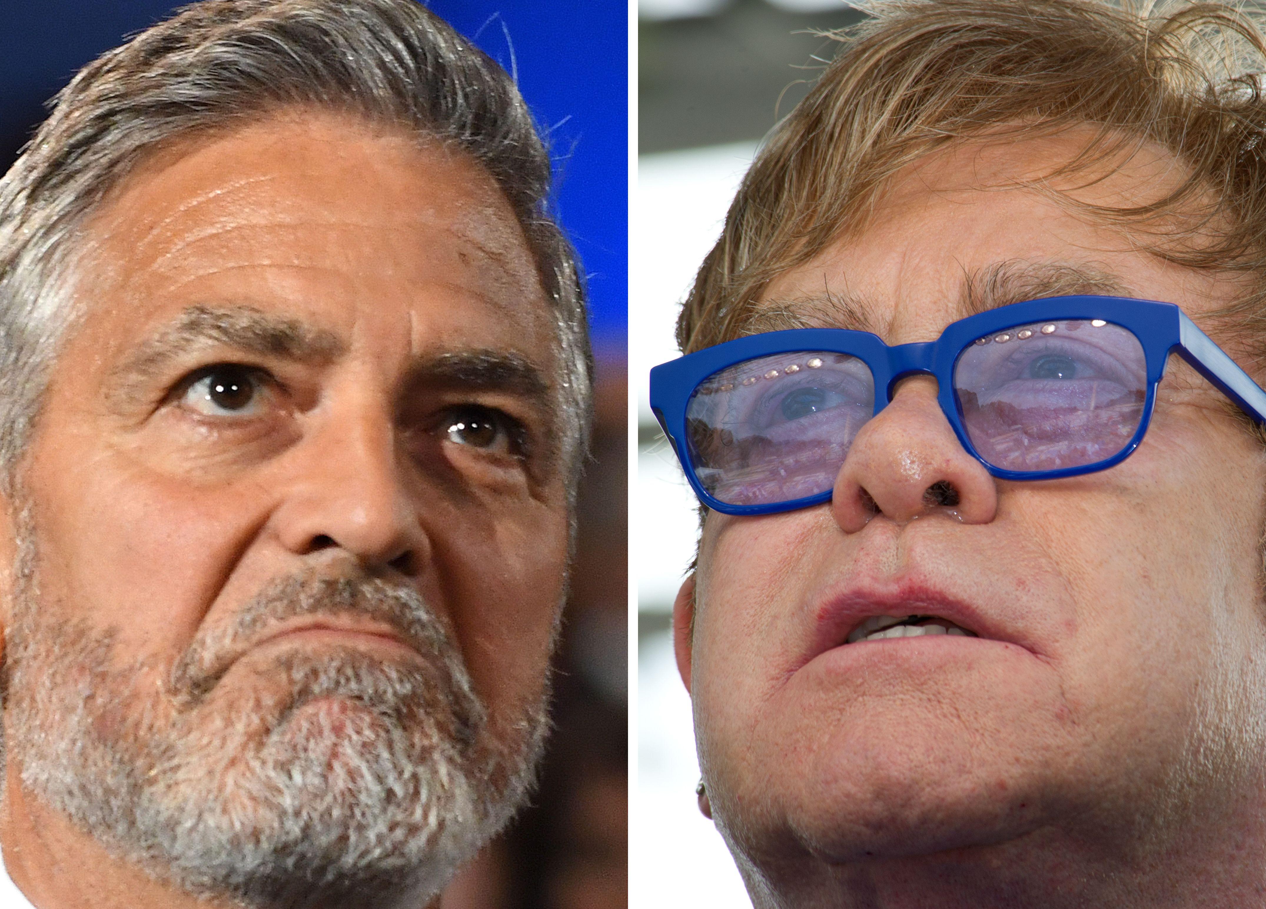 A la izq. el actor estadounidense George Clooney. A la der., el cantante británico Elton John. (Foto Prensa Libre: AFP).