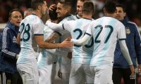 Argentina's players celebrate a goal during the friendly football match between Morocco and Argentina in Tangiers on March 26, 2019. (Photo by FADEL SENNA / AFP)