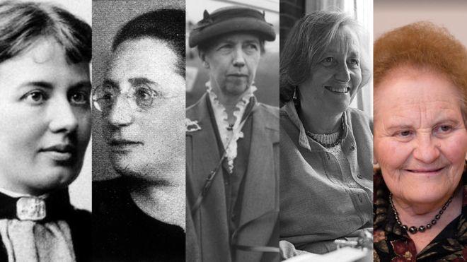 Sofya Kovalevskaya (Foto: dominio público), Emmy Noether (Foto: Ullstein bild/ullstein bild via Getty), Mary Cartwright (Foto: Getty), Cathleen S. Morawetz (Foto: ©Orling Photo Bureau NYU) y Marina Ratner (Foto: Lenya Ryzhik)