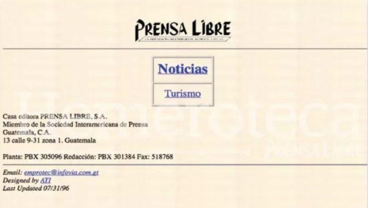 Así lucía la primera portada del sitio web de Prensa Libre:. (Foto Prensa Libre: HemerotecaPL)