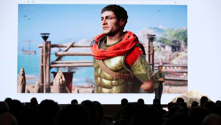 SAN FRANCISCO, CALIFORNIA - MARCH 19: Google CEO Sundar Pichai speaks during the GDC Game Developers Conference on March 19, 2019 in San Francisco, California. Google announced Stadia, a new streaming service that allows players to play games online without consoles or computers.   Justin Sullivan/Getty Images/AFP == FOR NEWSPAPERS, INTERNET, TELCOS & TELEVISION USE ONLY ==