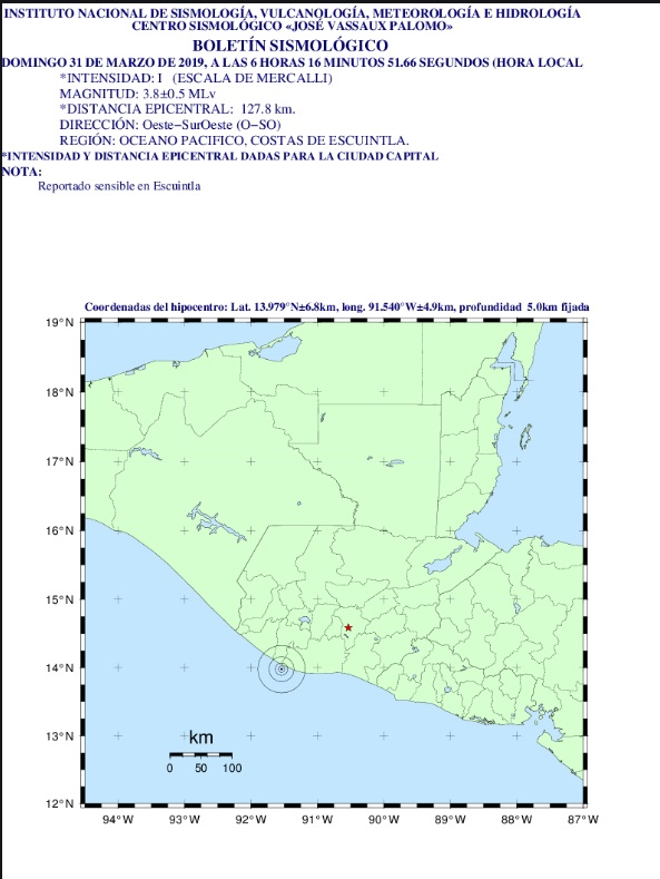 Un temblor de 3.9 grados fue sensible en gran parte del territorio nacional este 31 de marzo del 2019. (Foto Prensa Libre: Insivumeh)