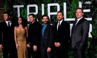 """Cast members (from L) Garrett Hedlund, Adria Arjona,Pedro Pascal, Oscar Isaac, Charlie Hunnam and Ben Affleck arrive for the world premiere of """"Triple Frontier"""" on March 3, 2019 in New York City. - The movie will be released in theatres on March 6. (Photo by Johannes EISELE / AFP)"""