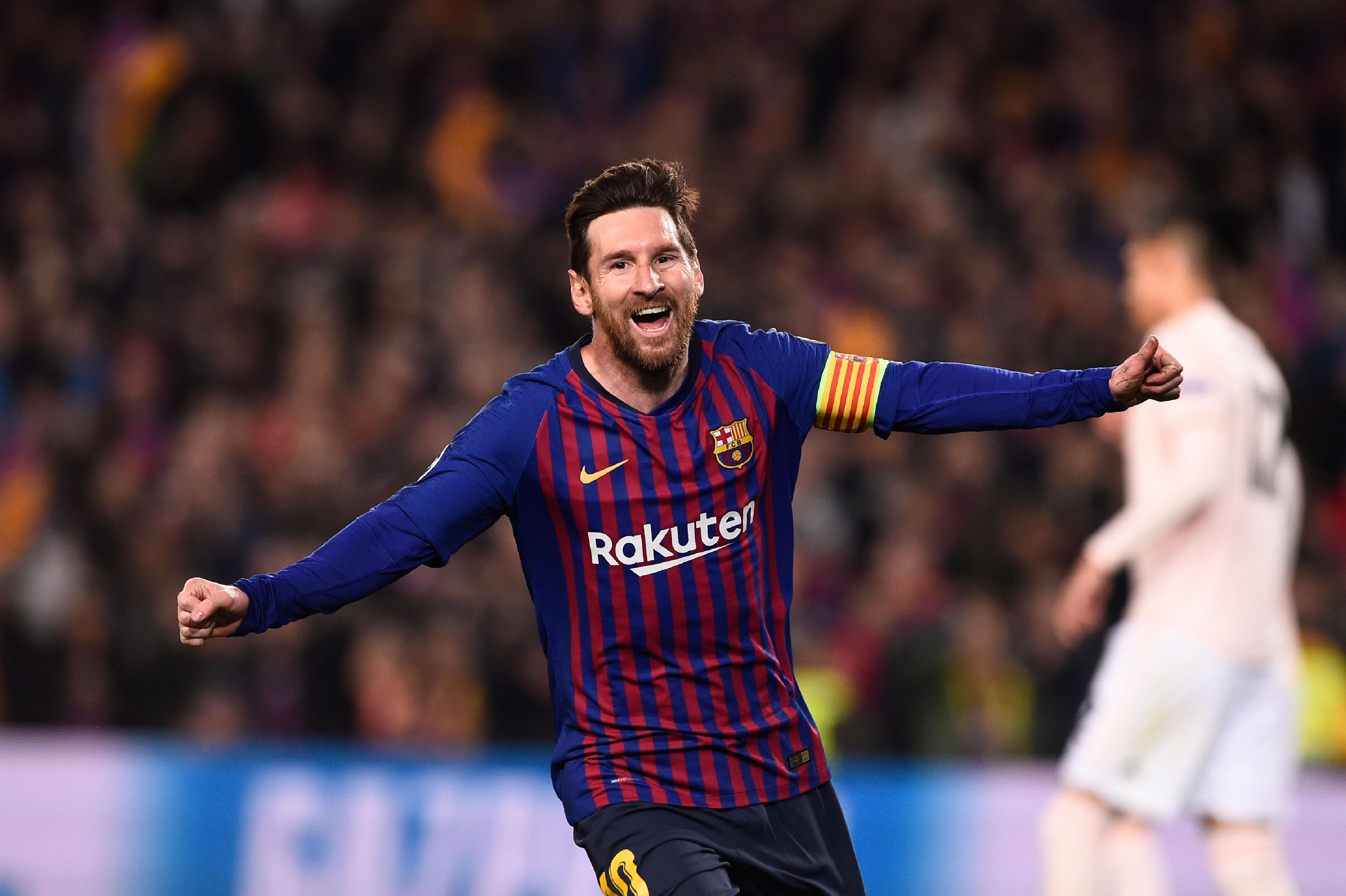 Lionel Messi celebra durante la victoria del Barcelona contra el Manchester United. (Foto Prensa Libre: AFP)