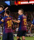 La celebración de Messi junto a Piqué, Lenglet y Suárez. (Foto Prensa Libre: AFP)