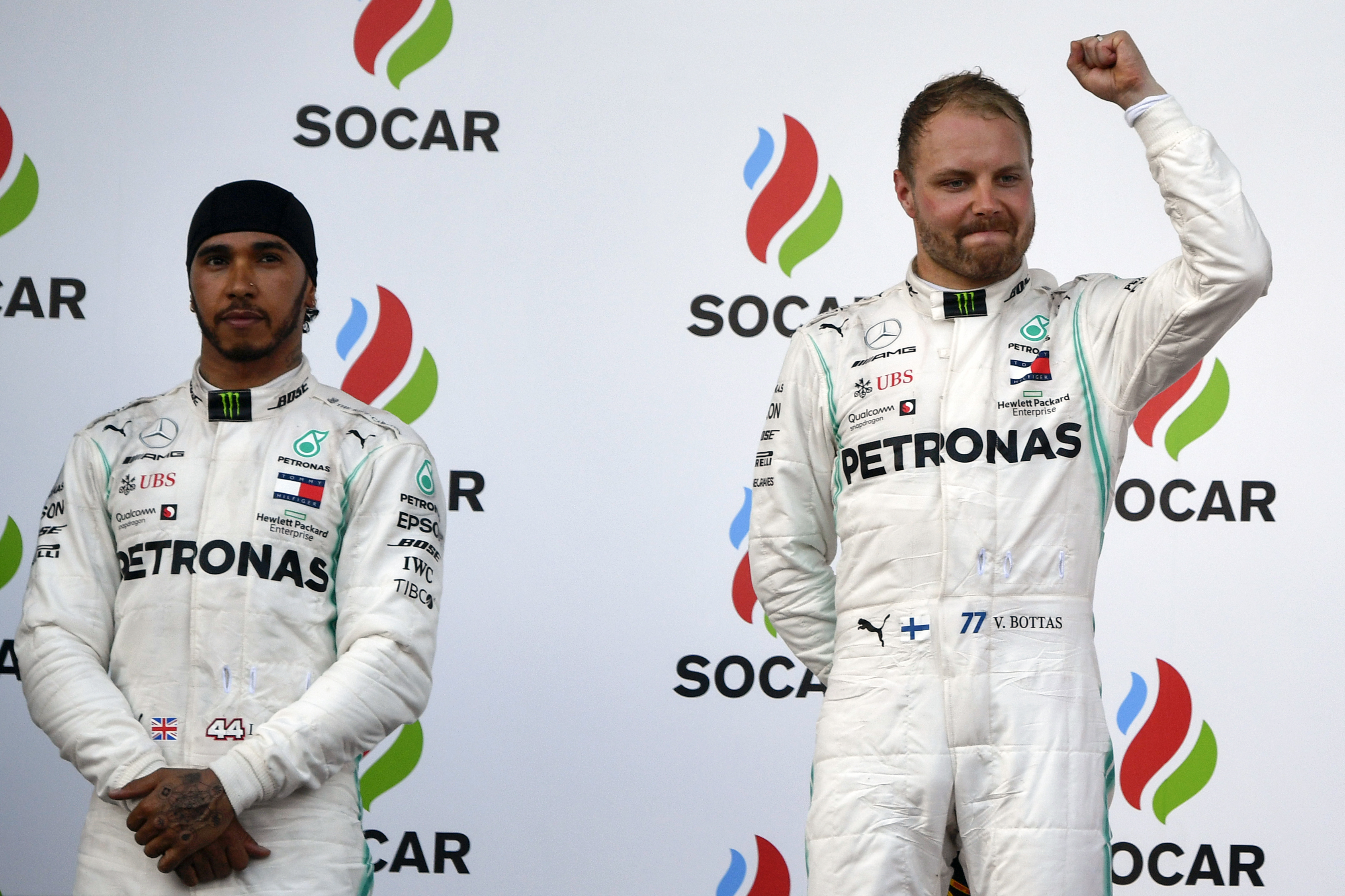 Valtteri Bottas celebra después de ganar el Gran Premio de Azerbayan. (Foto Prensa Libre: AFP)