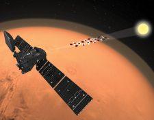 El satélite TGO mide los constituyentes del aire de Marte mirando a través de la atmósfera hacia el Sol. ESA