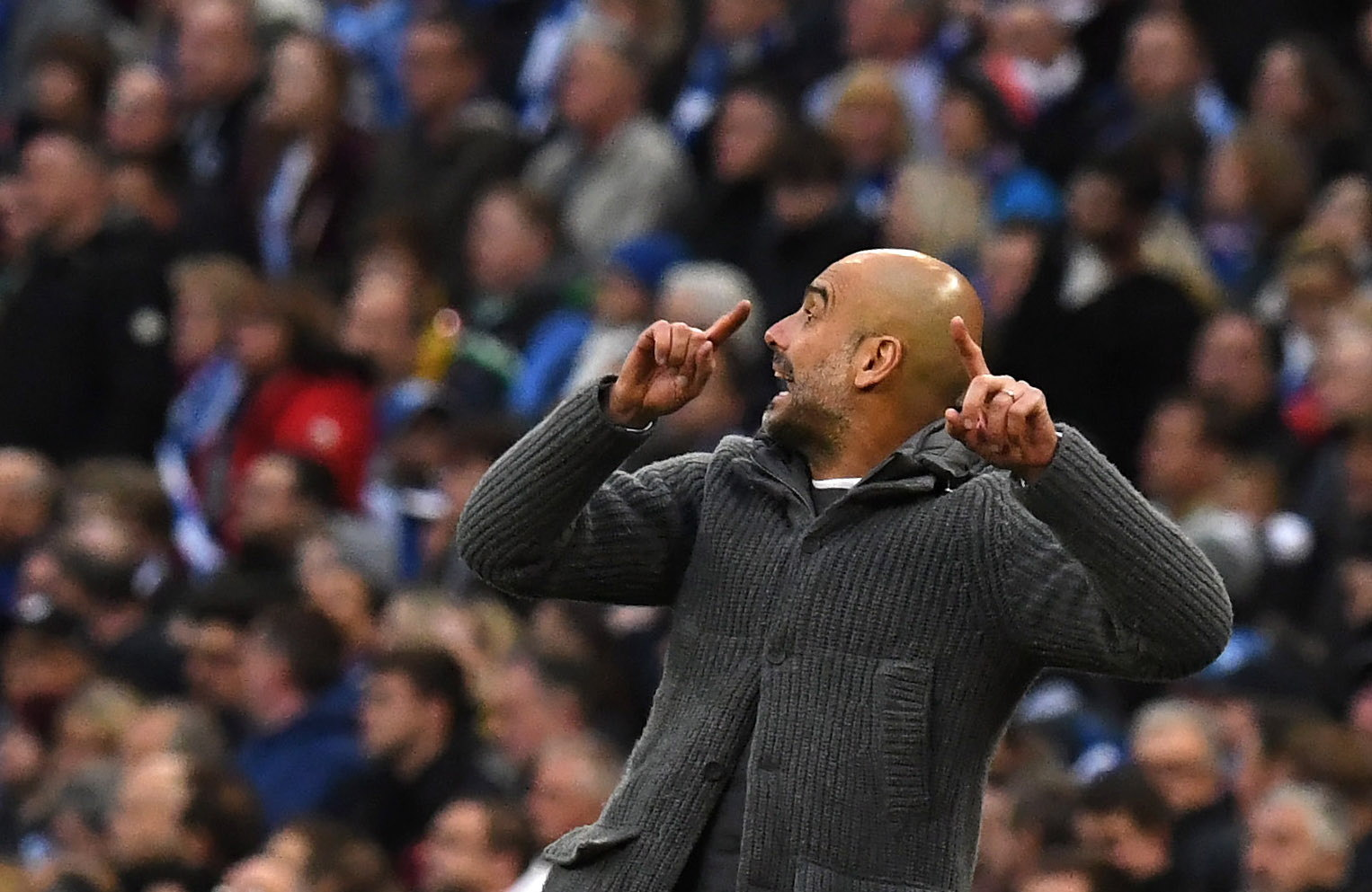 NGH2. London (United Kingdom), 06/04/2019.- Manchester City's manager Pep Guardiola reacts during the English FA Cup semi final soccer match Manchester City vs Brighton and Hove Ablion at Wembley Stadium in London, Britain, 06 April 2019. (Reino Unido, Londres) EFE/EPA/NEIL HALL EDITORIAL USE ONLY. No use with unauthorized audio, video, data, fixture lists, club/league logos or 'live' services. Online in-match use limited to 120 images, no video emulation. No use in betting, games or single club/league/player publications