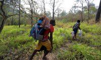 AME9398. AGUA CALIENTE (HONDURAS), 11/04/2019.- Migrantes haitianos caminan por un sendero para evitar el punto migratorio de la Aduana de Agua Caliente (Honduras), fronterizo con Guatemala, desde donde planean continuar su caravana junto a cientos de hondureños que pretenden llegar a Estados Unidos. El primer grupo de la caravana, que fue convocada por redes sociales, salió el martes, mientras que el segundo el miércoles, desde la Gran Central de Autobuses de la ciudad de San Pedro Sula, norte del país. EFE/Gustavo Amador