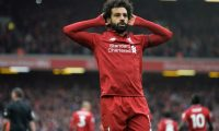 PP00. Liverpool (United Kingdom), 14/04/2019.- Liverpool's Mohamed Salah celebrates after scoring the 2-0 goal during the English Premier League match between Liverpool FC and Chelsea FC at Anfield, Liverpool, Britain, 14 April 2019. (Reino Unido) EFE/EPA/PETER POWELL EDITORIAL USE ONLY. No use with unauthorized audio, video, data, fixture lists, club/league logos or 'live' services. Online in-match use limited to 120 images, no video emulation. No use in betting, games or single club/league/player publications.