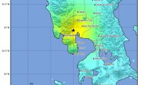 EPA9009. GUTAD (FILIPINAS), 22/04/2019.- Imagen facilitada por el Servicio Geológico de Estados Unidos (USGS) que muestra la localización del epicentro de un terremoto de 6,3 grados en la escala ritcher en Gutad, Filipinas, este lunes. Un terremoto de magnitud 6,3 sacudió hoy el norte de Filipinas sin que las autoridades hayan informado en principio de víctimas o daños, ni se haya emitido una alerta por tsunami. EFE/ Usgs / Handout SÓLO USO EDITORIAL? NO VENTAS