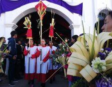 Celebración de Domingo de Ramos en El Tejar, Chimaltenango. (Foto Prensa Libre: César Pérez)
