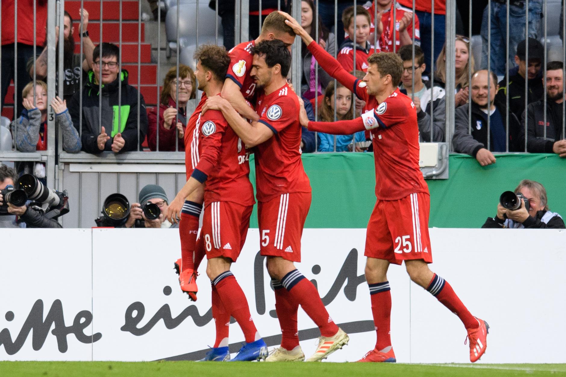 Así festejaron los jugadores del Bayern Múnich este miércoles. (Foto Prensa Libre: AFP)