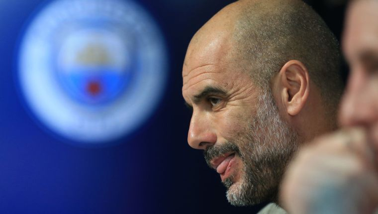 Manchester City's Spanish manager Pep Guardiola attends a press conference at City Football Academy in Manchester, north west England on April 16, 2019, the eve of their UEFA Champions League quarter final second leg football match against Tottenham Hotspur. (Photo by Lindsey PARNABY / AFP)