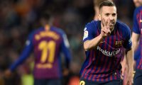 Barcelona's Spanish defender Jordi Alba celebrates scoring his team's second goal during the Spanish league football match between FC Barcelona and Real Sociedad at the Camp Nou stadium in Barcelona on April 20, 2019. (Photo by PAU BARRENA / AFP)