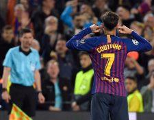 Philippe Coutinho, celebró de forma peculiar y muchos seguidores del Barcelona, no les gustó. (Foto Prensa Libre: AFP)